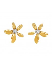 Diamond 10k Yellow Gold Daisy Flower Stud Earrings