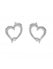 Single Diamond 10k White Gold Open Heart Drop Stud Earrings