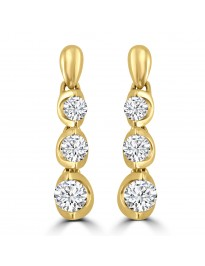 0.54ct Round Diamond 14k Yellow Gold 3 Stone Drop Dangle Earrings Certified