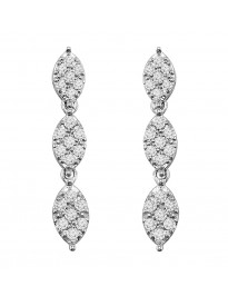 0.40ct Pave Diamond 10k White Gold Marquise Shape Dangle Drop Earrings