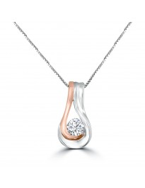 1/2ct Round Diamond 14k TT Rose Gold Solitaire Teardrop Pendant Necklace Certified
