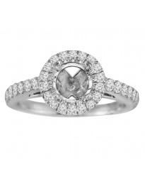 14k White Gold 1/2ct Diamond Semi Mount Halo Engagement Ring Fits 1.00ct