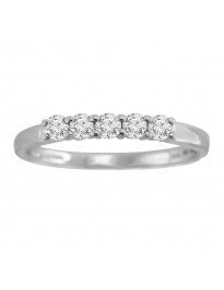 0.25Ct Round Diamond 14K White Gold 5 Stone Ladies Wedding Band Certified