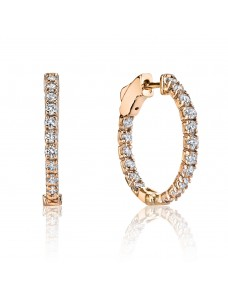 1.00ct G/SI Round Diamond 14k Rose Gold Prong-Set Hoop Earrings Patented Lock