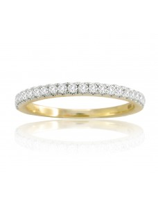 Round Diamond 14k Yellow Solid Gold 0.25ct Half Eternity Wedding Band Ring