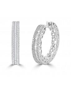 3/4ct Baguette & Round Diamond 10k White Gold Channel Set Hoop Earrings