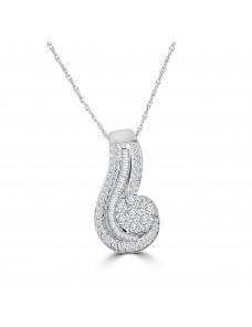 1/2ct Round & Baguette Diamond 10k White Gold Cluster Swirl Pendant Necklace