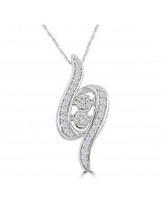 1/2cttw Round Diamond 10k White Gold Dancing Diamond Pendant Necklace