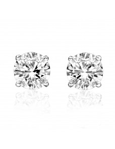 0.20ct Natural Round Diamond 1/5ct 14k White Gold Stud Earrings Screw Backs