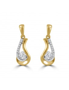 1/2ct Round Diamond 14k Yellow Gold Dangle Drop Teardrop Earrings