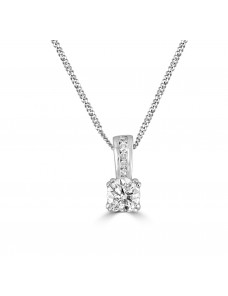 1/3cttw Round Diamond 14k White Gold Solitaire Pendant Necklace Certified